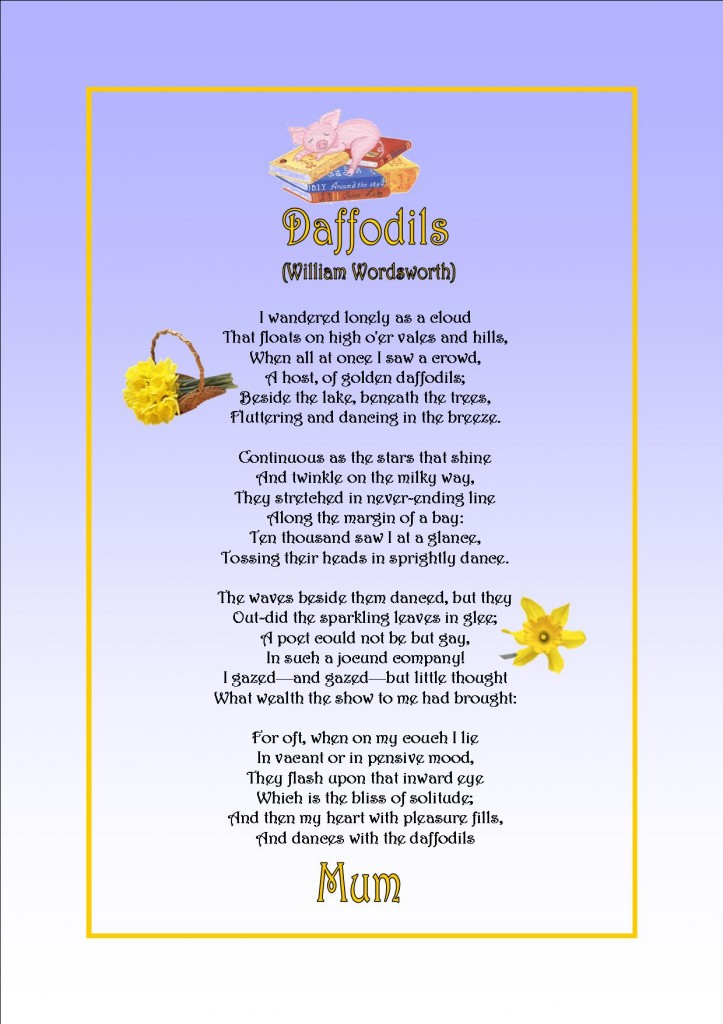 daffodils by william wordsworth The daffodils by william wordsworth this activity was developed by val blackburn at seal (service for english as an.