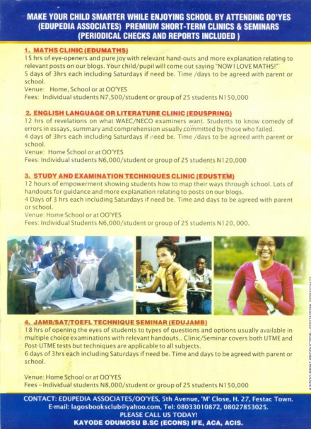 2015 EXAMS...JAMB REPEATS WARNING ABOUT REGISTERING ONLY AT ACCREDITED CBT CENTRES LISTED HERE (LAGOS AND OGUN STATES)