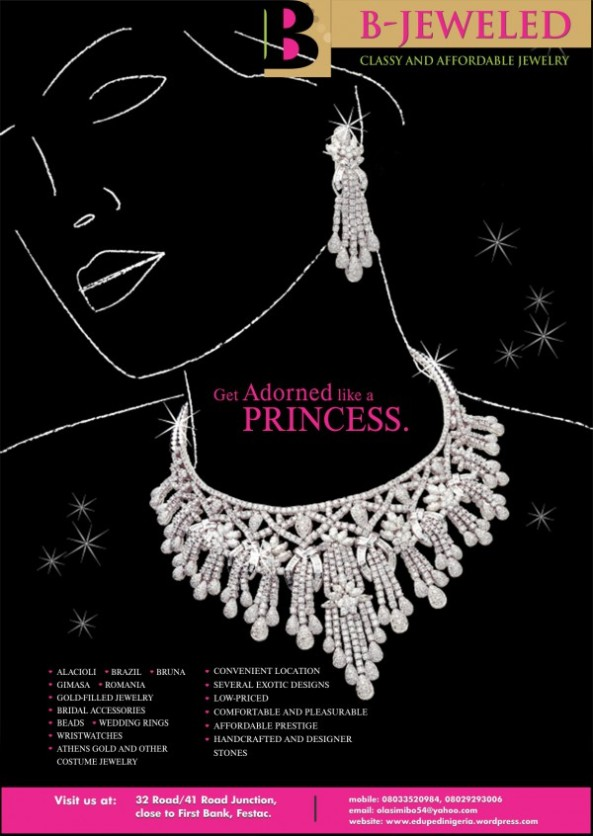 GET TREATED LIKE A PRINCESS AT B-JEWELED SHOP ON 32 ROAD FESTAC,LAGOS