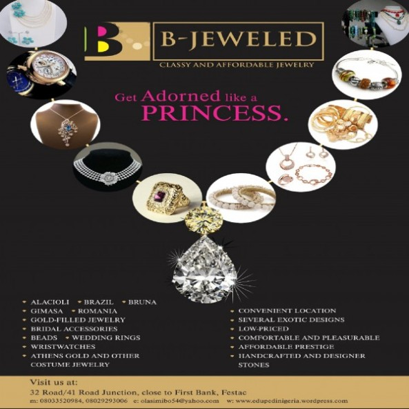 "GETTING MARRIED?...BEEN TO B-JEWELED SHOP ON 32 ROAD,FESTAC LATELY?...PAY A VISIT AND BE TREATED LIKE A PRINCESS BEFORE YOU SAY ...""I DO"""