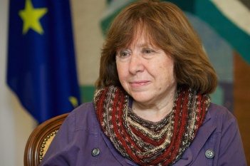 (FILES) A photo taken on November 14, 2014 shows Belarusian journalist and writer Svetlana Alexievich during her visit a the Ukrainian embasy in Minsk. Belarus writer Svetlana Alexievich won the Nobel Literature Prize on October 8, 2015. AFP PHOTO / MAXIM MALINOVSKYMAXIM MALINOVSKY/AFP/Getty Images