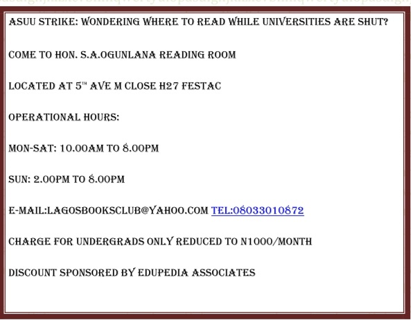 ASUU STRIKE: WONDERING WHERE TO READ WHILE UNIVERSITIES ARE SHUT?