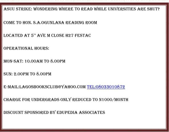 ASUU STRIKE: WONDERING WHERE TO READ WHILE UNIVERSITIES ARE SHUT?